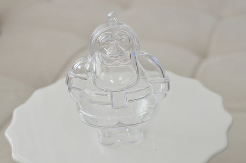Plastic Santa Shaped Container Ornament - Clear