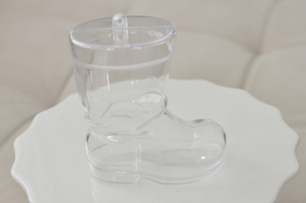 Plastic Christmas Boot Shaped Container Ornament - Clear