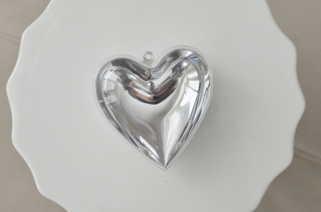 Plastic Heart Shaped Container - Clear w/ Silver Chrome