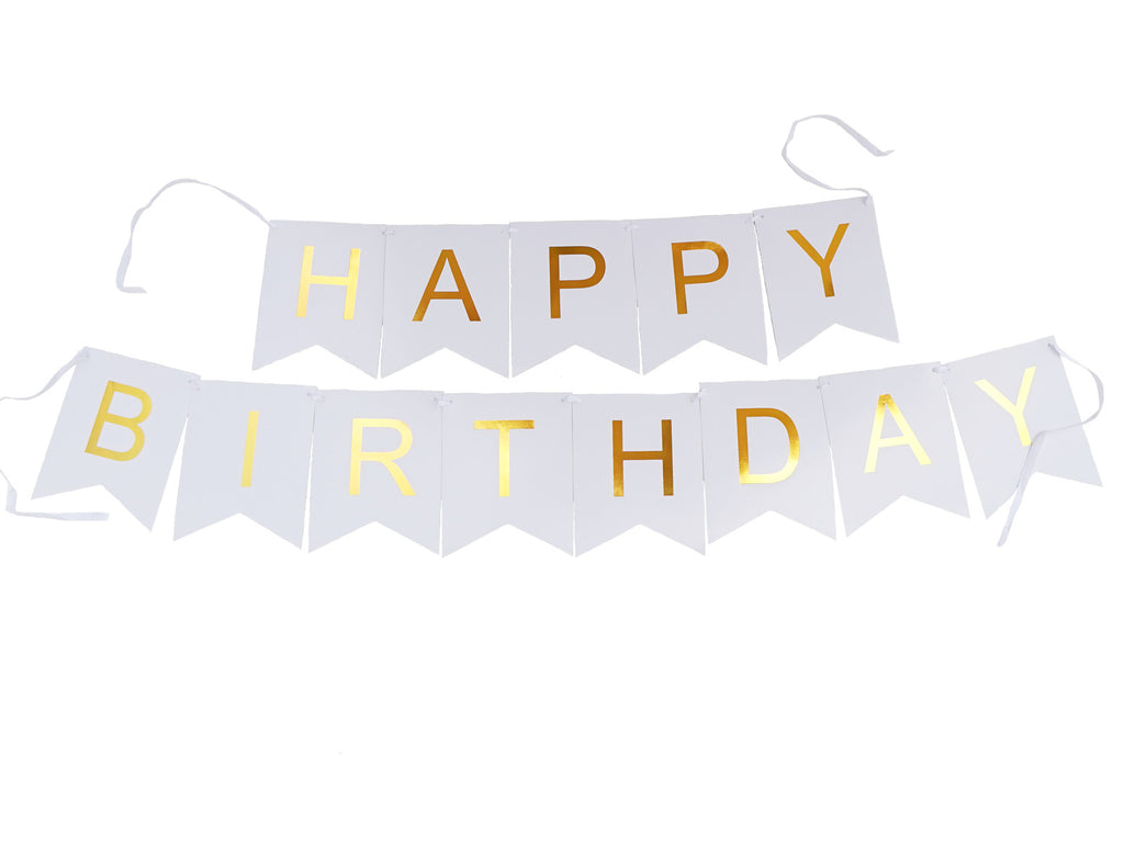 happy birthday banner white wgold letters