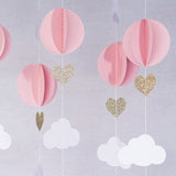 Hot Air Balloon 3D Paper Garland Baby Room Nursery Decor, Baby Shower (5 Individual Strands, 3 Ft Long Per Strand) - Pink, White & Gold Glitter