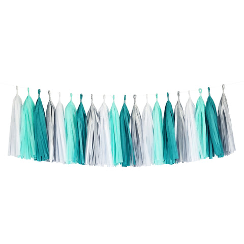 Tissue Paper Tassel Party Garland (20 Tassels Per Package) - White, Mint, Aqua & Silver