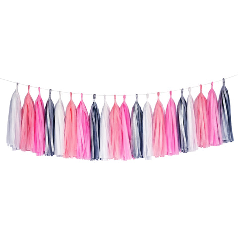 Tissue Paper Tassel Party Garland (20 Tassels Per Package) - Pink, Coral, White & Gray