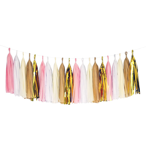 Tissue Paper Tassel Party Garland (20 Tassels Per Package) - Pink, White, Ivory, Tan & Gold Mylar