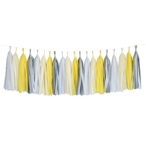 Tissue Paper Tassel Party Garland (20 Tassels Per Package) - Yellow, White, Ivory & Gray