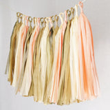 Tissue Paper Tassel Party Garland (20 Tassels Per Package) - Peach, Ivory, Tan & Gold
