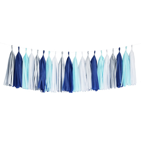 Tissue Paper Tassel Party Garland (20 Tassels Per Package) - Blue, Navy, White & Silver