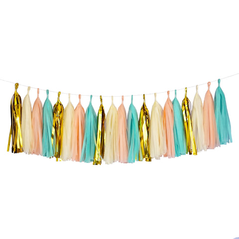 Tissue Paper Tassel Party Garland (20 Tassels Per Package) - Mint, Peach, Ivory & Gold Mylar