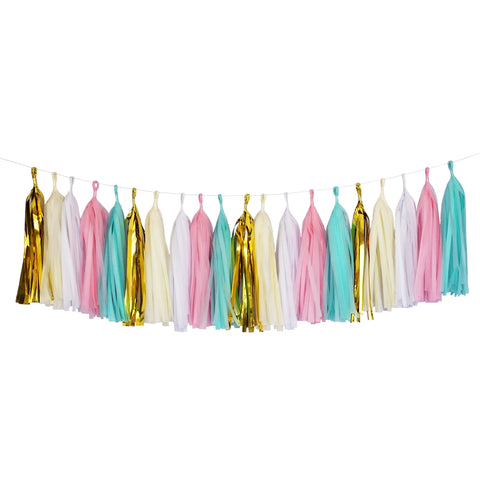 Tissue Paper Tassel Party Garland (20 Tassels Per Package) - Mint, Pink, White, Ivory & Gold Mylar