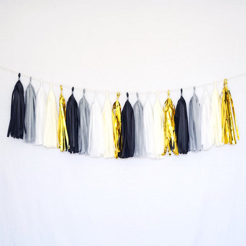 Tissue Paper Tassel Party Garland (20 Tassels Per Package) - Black, Gray, White, Ivory, Gold Mylar