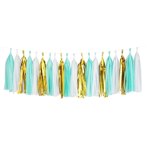 Tissue Paper Tassel Party Garland (20 Tassels Per Package) - 14 Inch Long Tassels (White-Mint-Gold Mylar)