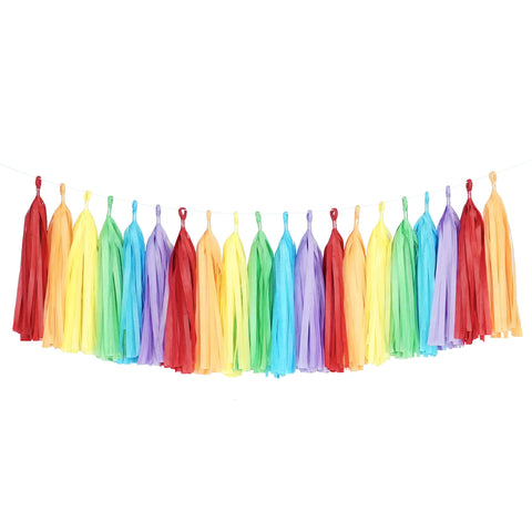 Tissue Paper Tassel Party Garland (20 Tassels Per Package) - 14 Inch Long Tassels (Rainbow)