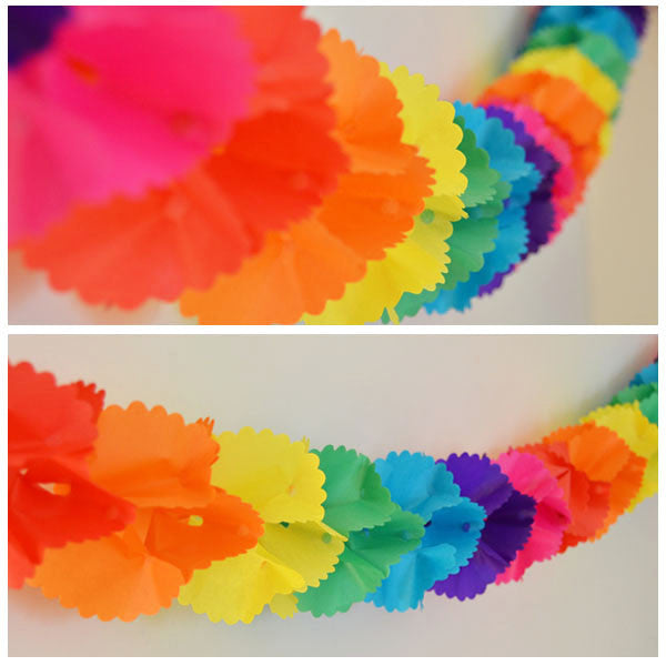 Rainbow Hombre Tissue Paper Garland Party Streamer, 12 Feet Long