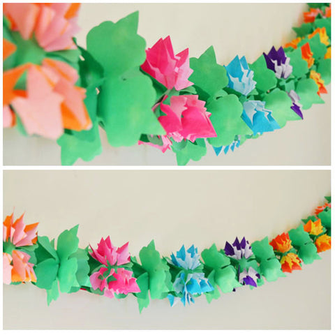 Luau Flower Shaped Paper Garland - 12 Feet Long