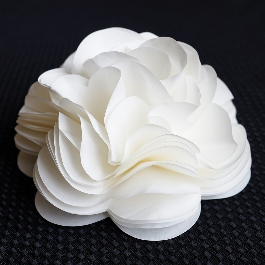 Self Adhesive Ivory White Tissue Paper Flower Bow for Gift Wrapping & Decor - 6.25 Inch Diameter