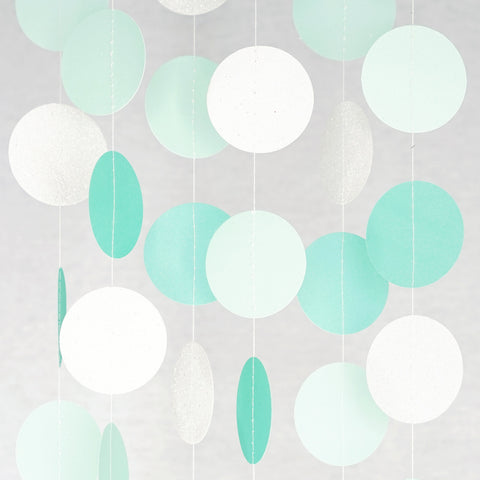 Circle Dots Paper Garland - 10 Feet Long - Mint, Aqua & Pearl White Glitter