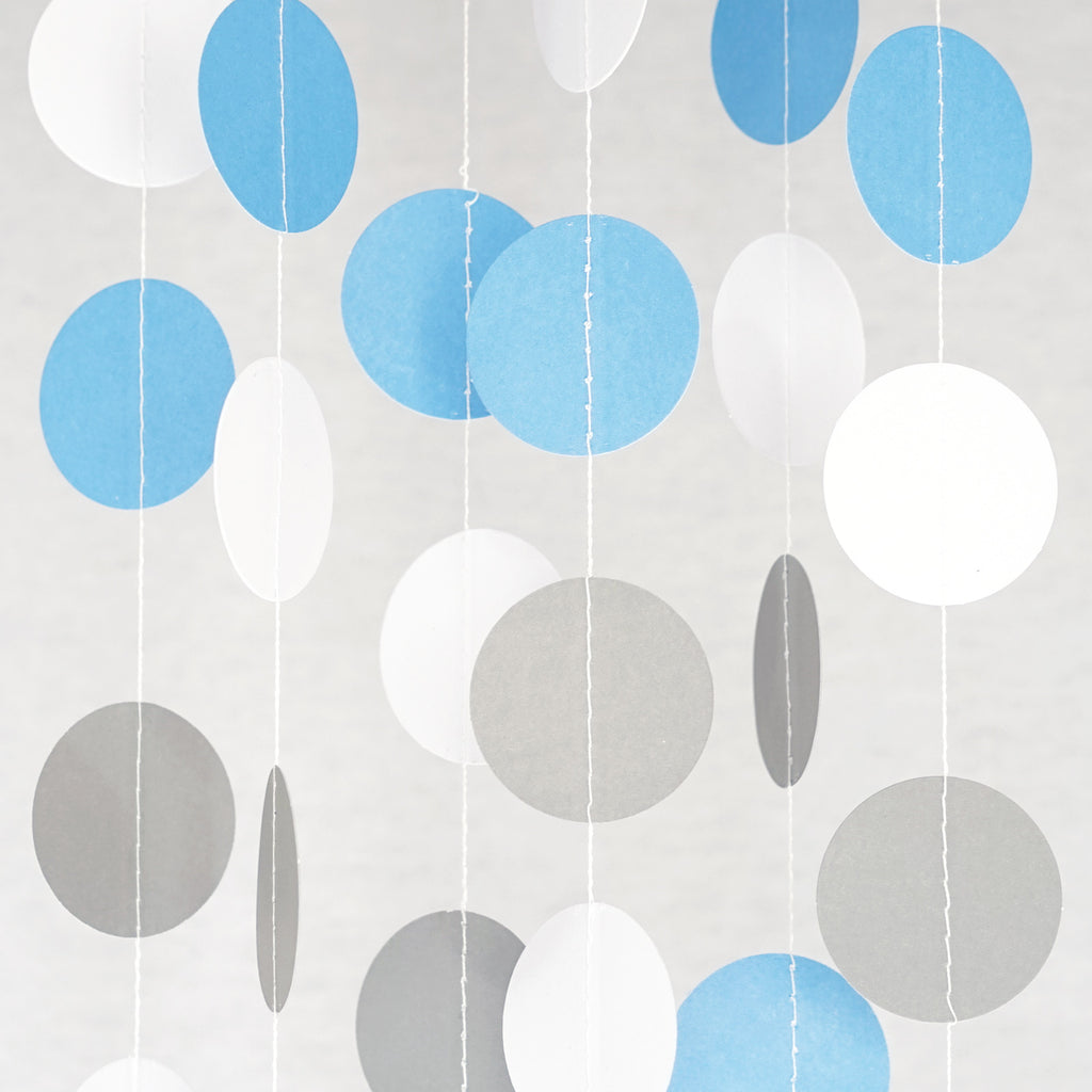 Chloe Elizabeth Circle Dots Paper Party Garland Backdrop (Pack of 4 and 10 garlands) - White, Gray, Lt. Blue