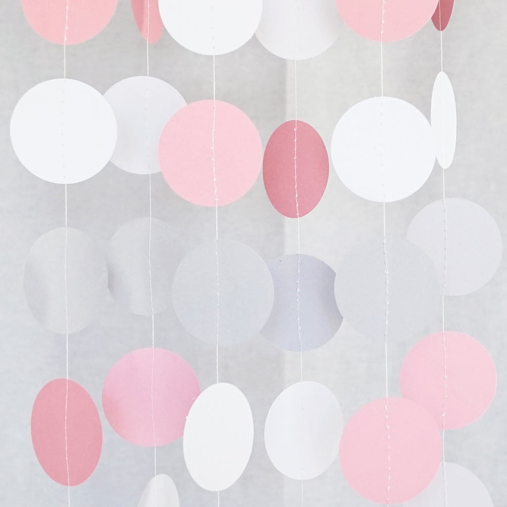Circle Dots Paper Garland - 10 Feet Long - White, Gray, & Pink