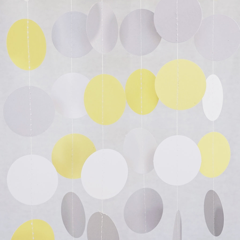 Chloe Elizabeth Circle Dots Paper Party Garland Backdrop (Pack of 4 and 10 garlands) - Yellow, Gray, White