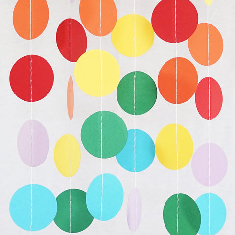 Circle Dots Paper Garland - 10 Feet Long - Rainbow