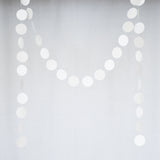 Circle Dots Paper Garland - 10 Feet Long - White & Light Gray