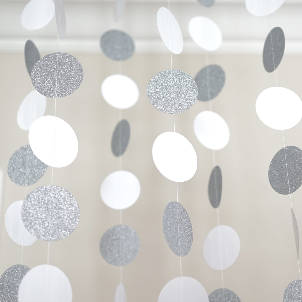 Chloe Elizabeth Circle Dots Paper Party Garland Backdrop (Pack of 4 and 10 garlands) - White, Silver Glitter