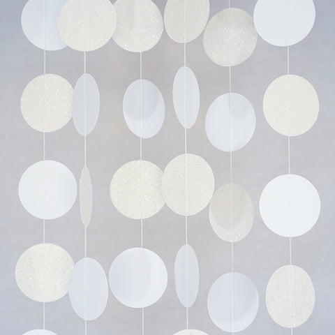 Circle Dots Paper Garland - 10 Feet Long - White & Pearl Glitter