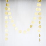 Circle Dots Paper Garland - 10 Feet Long - Gold Glitter