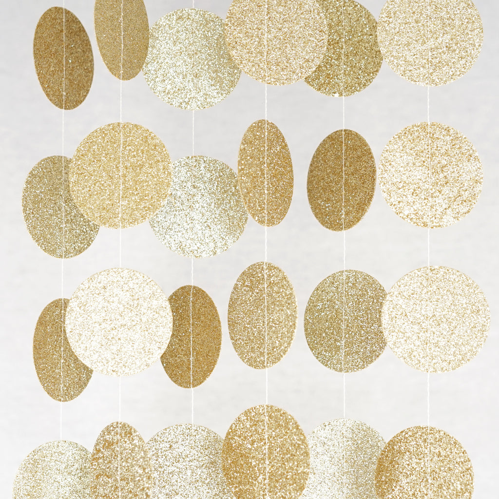 Chloe Elizabeth Circle Dots Paper Party Garland Backdrop (Pack of 4 and 10 garlands) - Champagne Gold Glitter