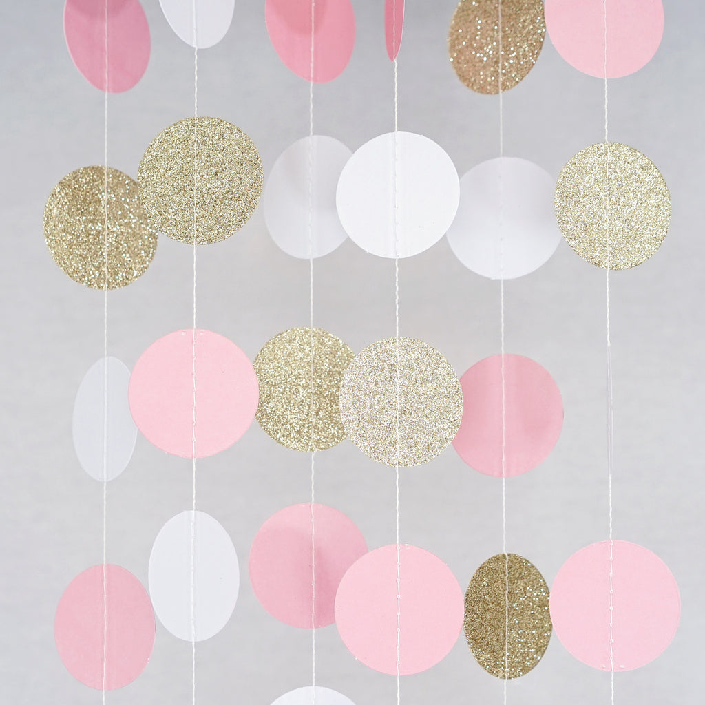 Circle Dots Paper Garland - 10 Feet Long - White, Pink & Gold Glitter