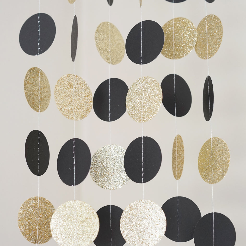 Chloe Elizabeth Circle Dots Paper Party Garland Backdrop (Pack of 4 and 10 Garlands) - Black, Gold Glitter