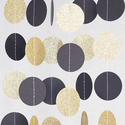 Circle Dots Paper Garland - 10 Feet Long - Black & Gold Glitter