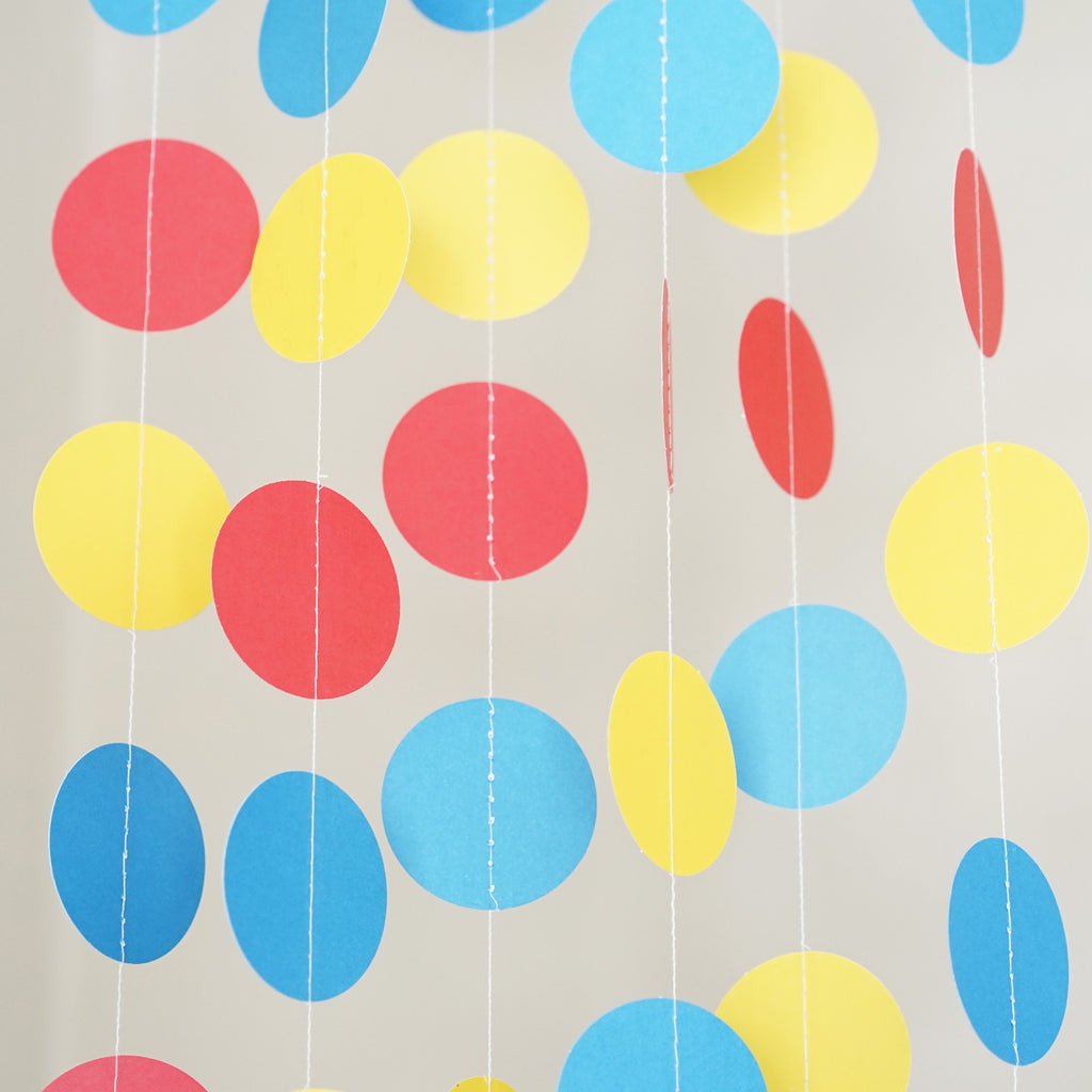 Chloe Elizabeth Circle Dots Paper Party Garland Backdrop (Pack of 4 and 10 Garlands) - Red, Yellow, Blue