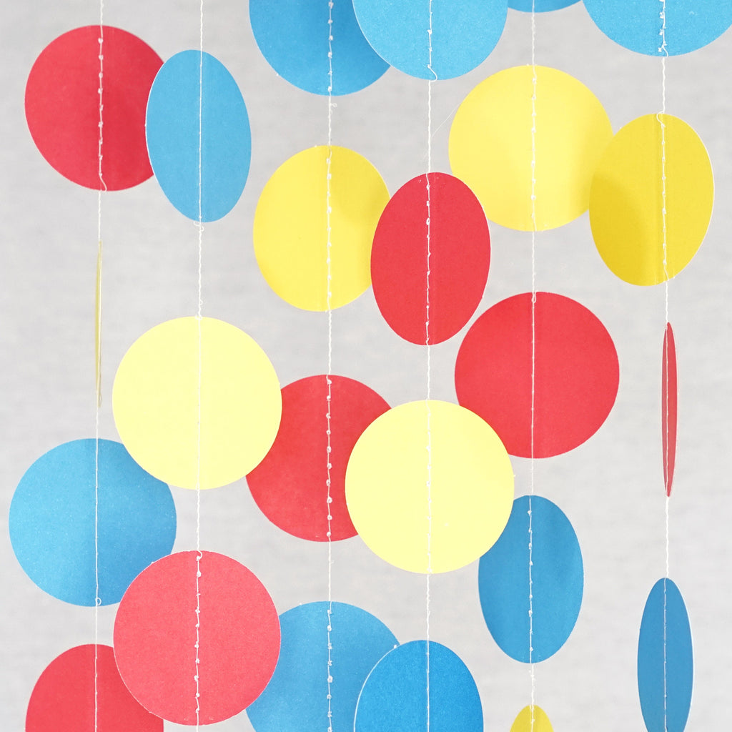 Circle Dots Paper Garland - 10 Feet Long - Red, Yellow & Blue