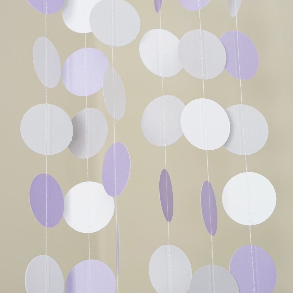 Chloe Elizabeth Circle Dots Paper Party Garland Backdrop (Pack of 4 and 10 Garlands) - White, Lavender, Gray