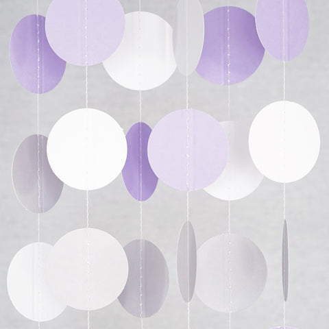 Circle Dots Paper Garland - 10 Feet Long - White, Gray & Purple
