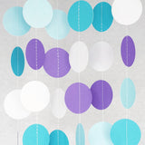 Circle Dots Paper Garland - 10 Feet Long - Frozen Aqua, Blue & Purple