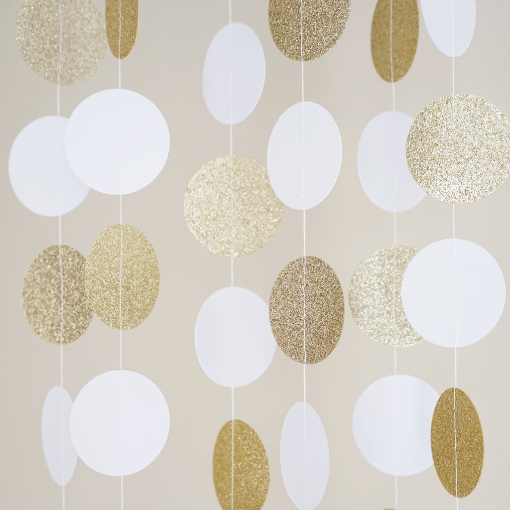 Chloe Elizabeth Circle Dots Paper Party Garland Backdrop (Pack of 4 and 10 Garlands) - White, Gold Glitter