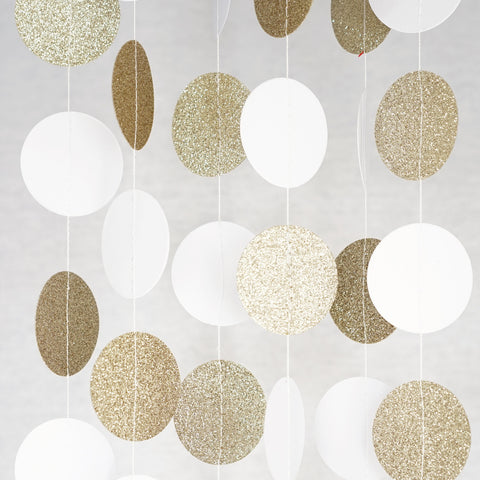 Circle Dots Paper Garland - 10 Feet Long - White & Gold Glitter