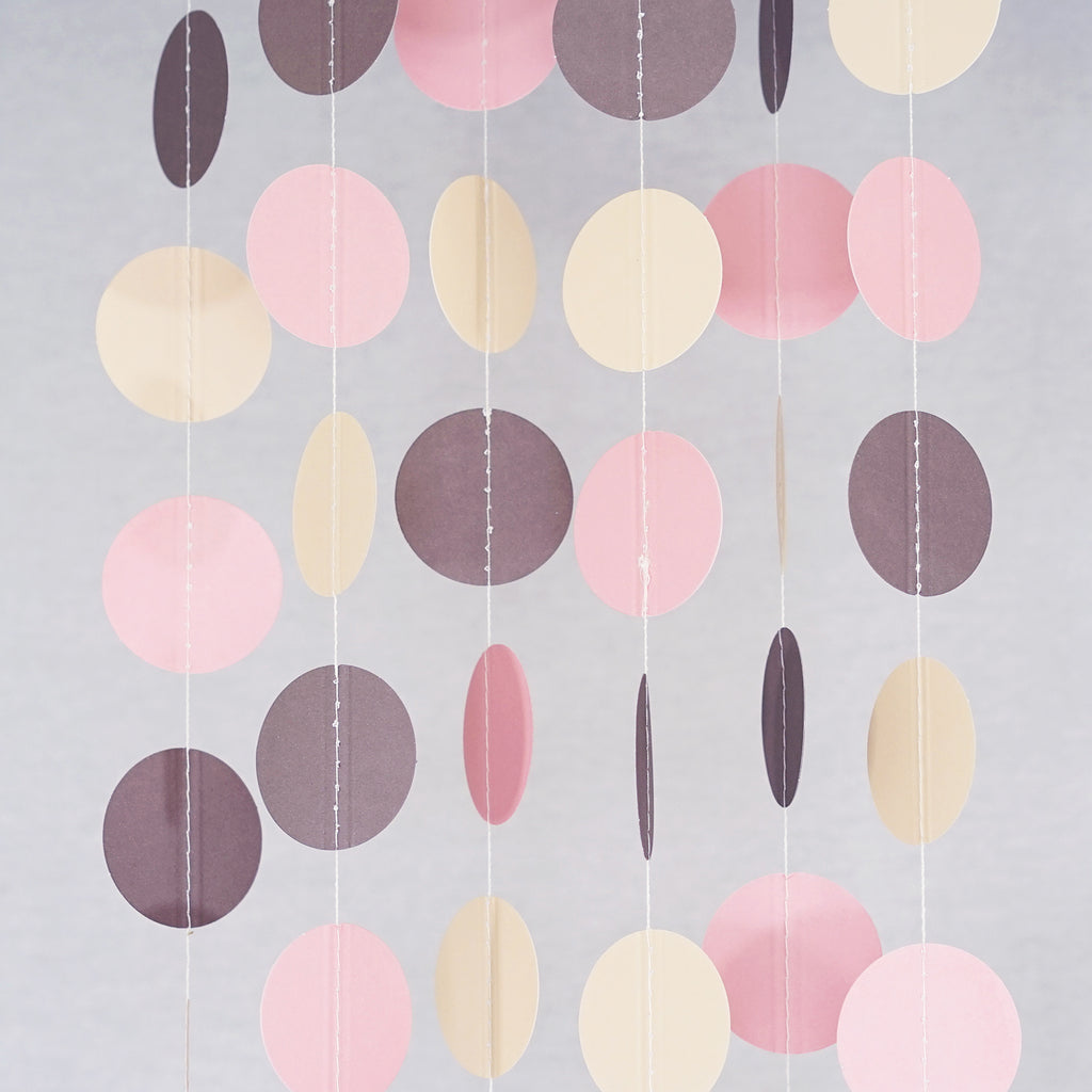 Chloe Elizabeth Circle Dots Paper Party Garland Backdrop (Pack of 4 and 10 Garlands) - Blush Pink, Ivory, Brown