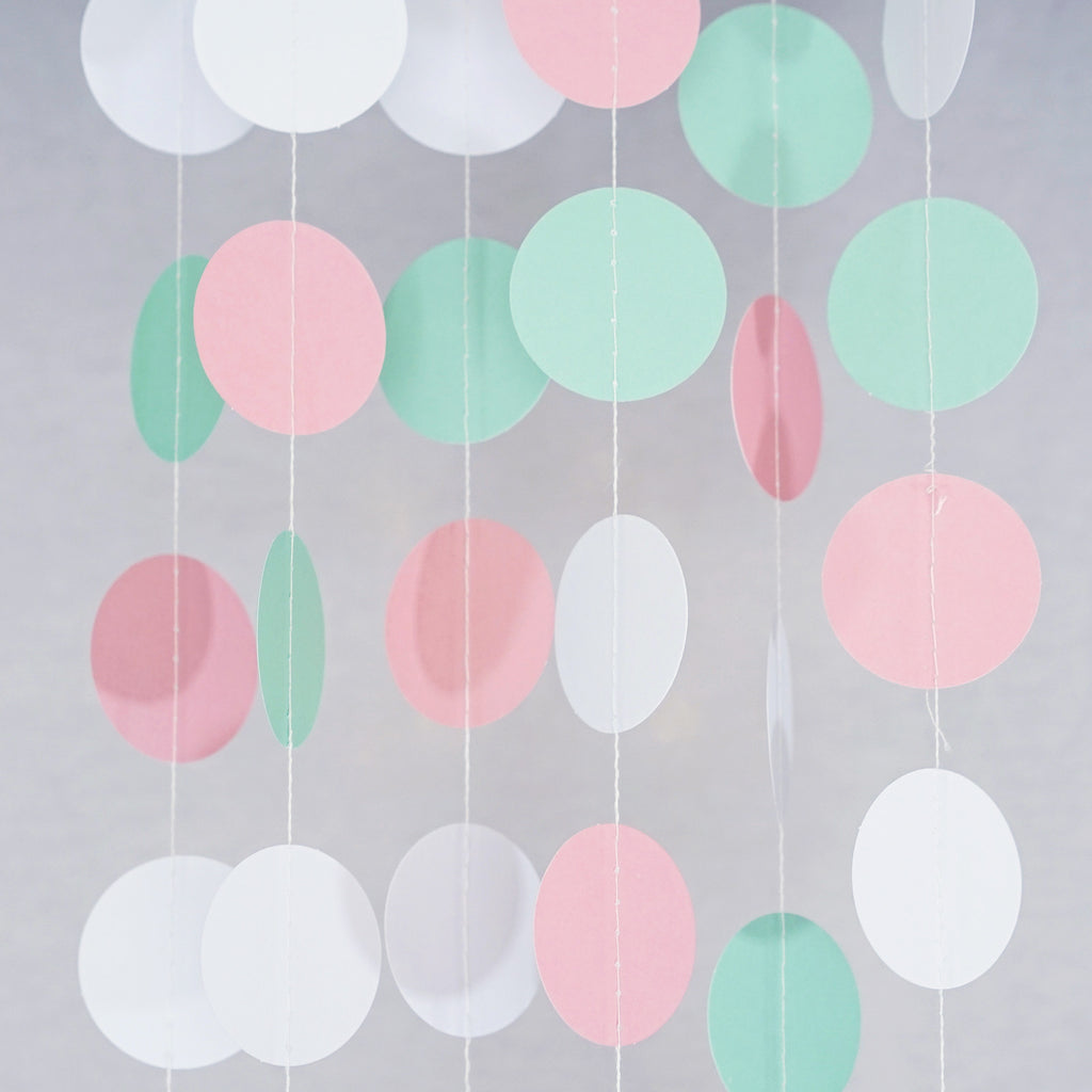 Circle Dots Paper Party Garland Backdrop (10 Feet Long) - Mint, Pink, White