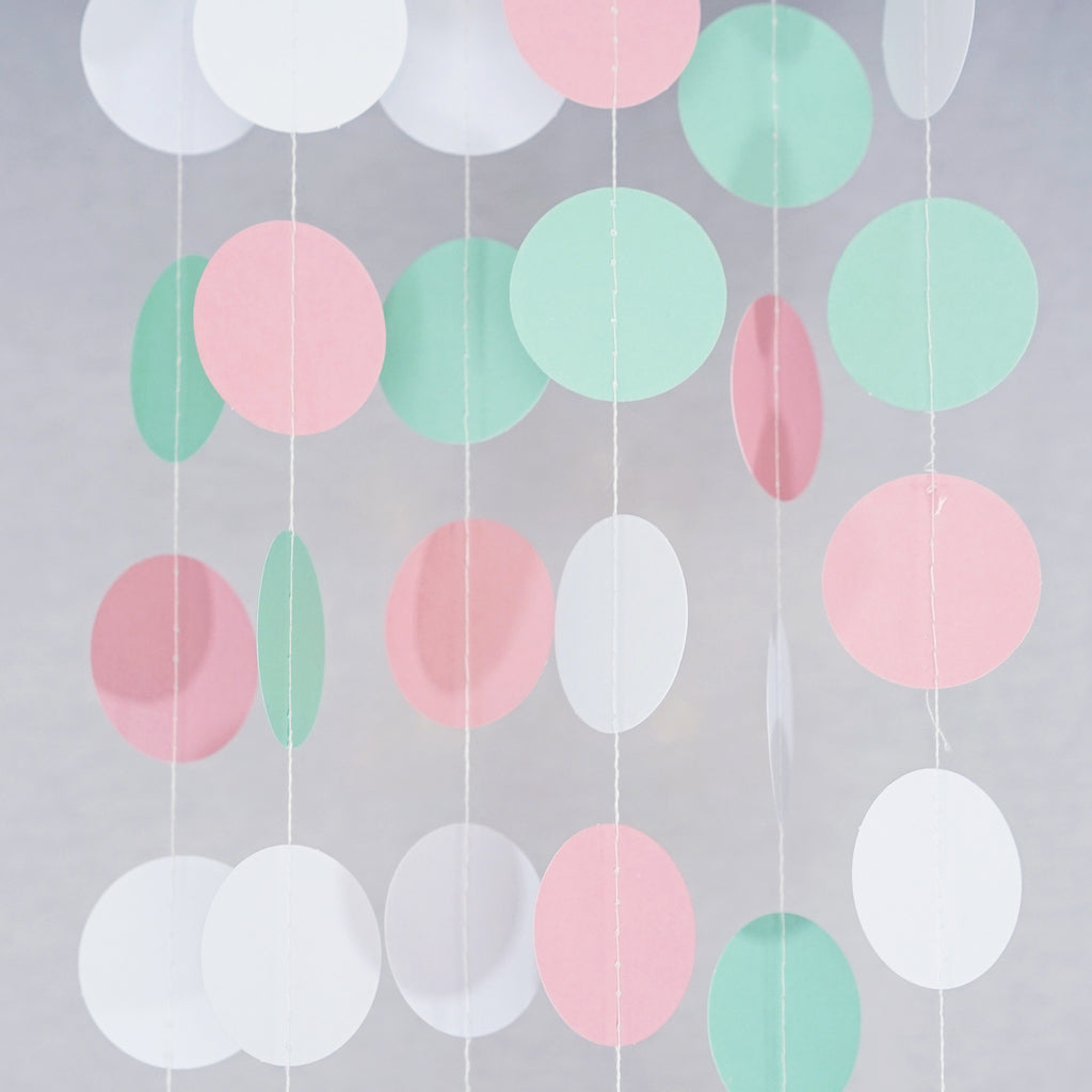 Chloe Elizabeth Circle Dots Paper Party Garland Backdrop (Pack of 4 and 10 Garlands) - Mint, Pink, White