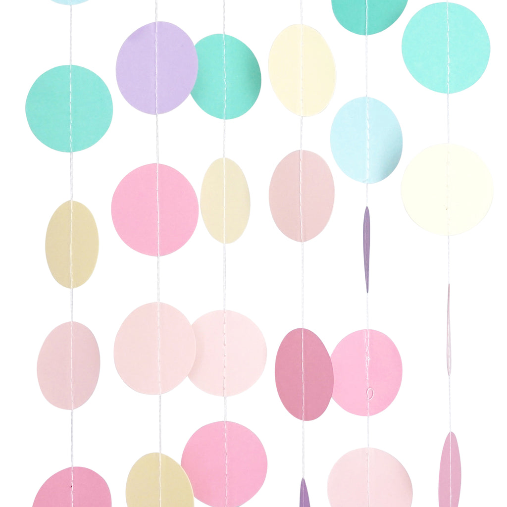 Chloe Elizabeth Circle Dots Paper Party Garland Backdrop (Pack of 4 and 10 Garlands) - Unicorn Pastel