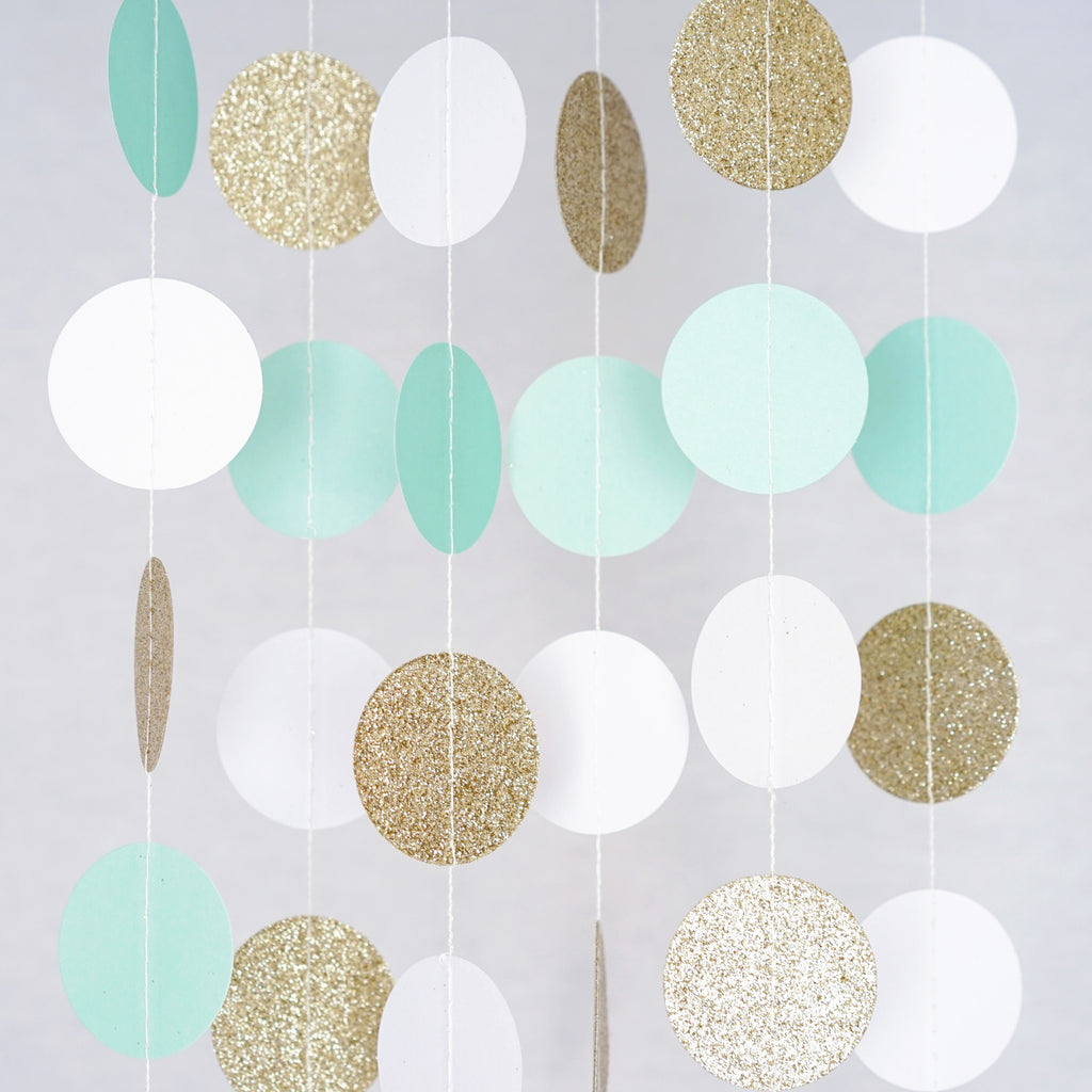 Circle Dots Paper Party Garland Backdrop (10 Feet Long) - Mint, White, Gold Glitter