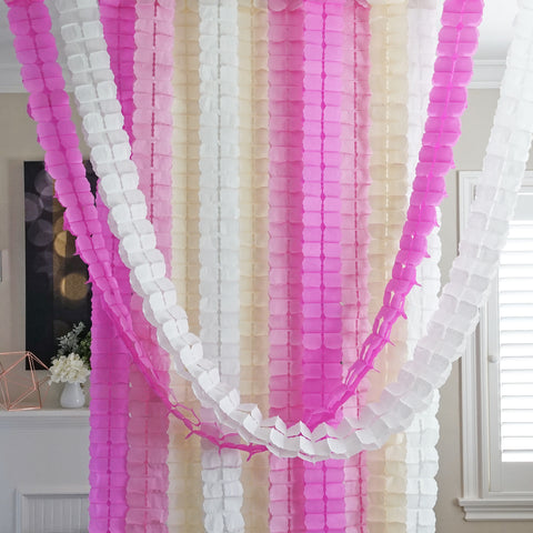 3D Four Leaf Flower Tissue Paper Hanging Streamers for All Party Events, Photo Garland Backdrop, 12-PACK (Light Pink, Pink, Ivory, White)
