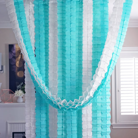 3D Four Leaf Flower Tissue Paper Hanging Streamers for All Party Events, Photo Garland Backdrop, 12-PACK (Mint, Aqua, White)