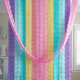 3D Four Leaf Flower Tissue Paper Hanging Streamers for All Party Events, Photo Garland Backdrop, 12-PACK (Pastel Colors)