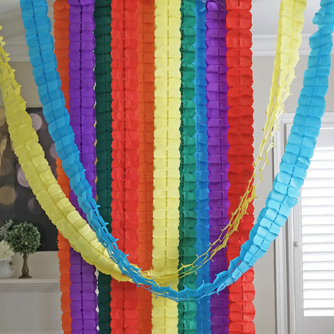 3D Four Leaf Flower Tissue Paper Hanging Streamers for All Party Events, Photo Garland Backdrop, 12-PACK (Circus Rainbow)