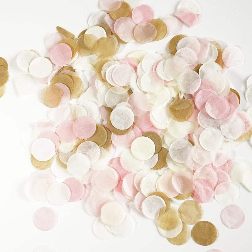 Premium 1-inch Round Tissue Paper Confetti - 50 Grams - Pink, White, Ivory, Tan