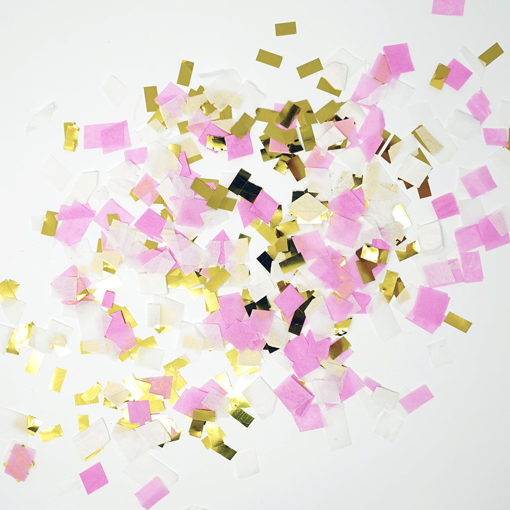 Premium Shredded Squares Tissue Paper Party Table Confetti - 50 Grams (Pink, White, Gold Mylar Flakes)